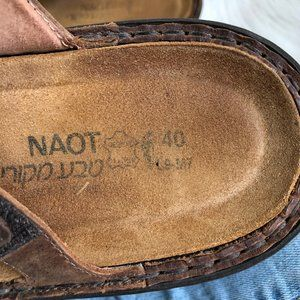 Naot Shoes - NAOT Leather Gold Circle Double Strap Sandal SZ 40
